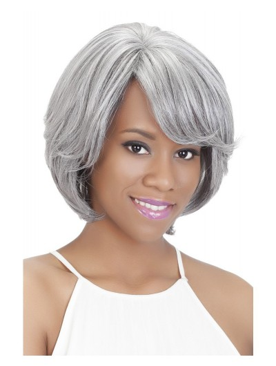 Wavy Capless Chin Length Synthetic Hair With Bangs Grey Wig