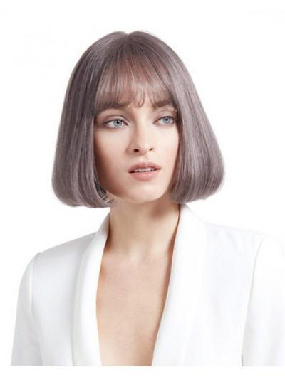 Straight Capless Short Synthetic Hair Bobs Grey Wig