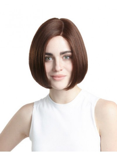 Straight Lace Front Short Remy Human Hair Bobs Brown Wig