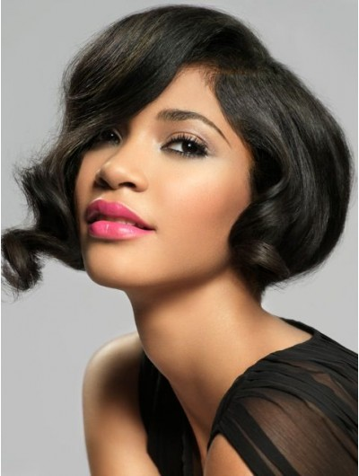 Wavy Lace Front Short Synthetic Hair Bobs Black Wig