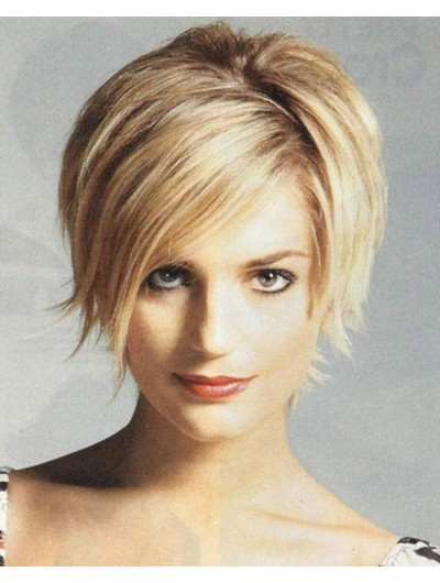 Straight Capless Cropped Synthetic Hair Bobs Blonde Wig