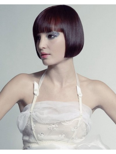 Straight Capless Chin Length Synthetic Hair Bobs Auburn Wig