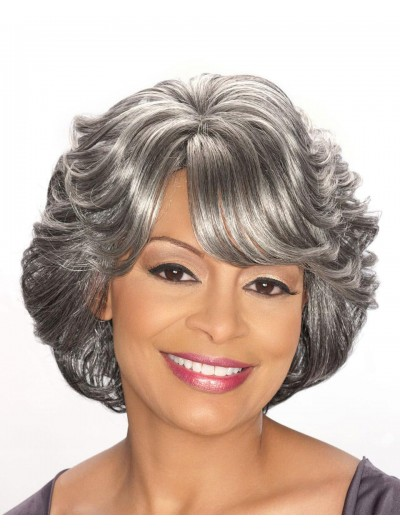 Wavy Capless Short Synthetic Hair With Bangs Grey Wig