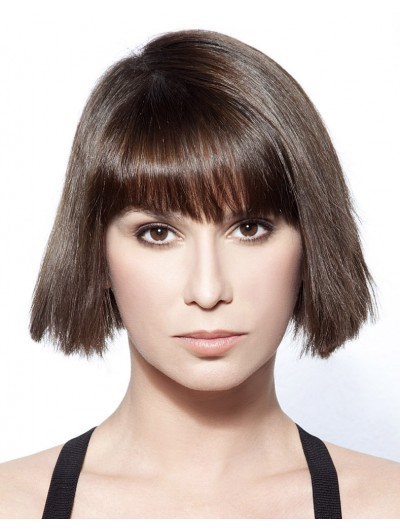 Straight Capless Short Remy Human Hair With Bangs Black Wig