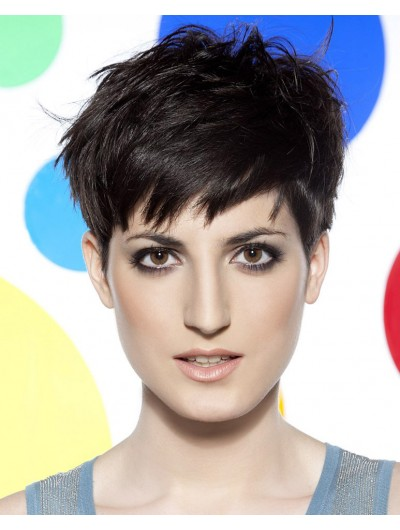 Straight Capless Short Remy Human Hair Boycuts Black Wig