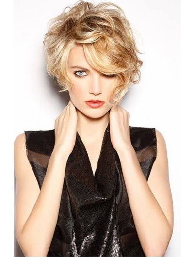 Wavy Capless Short Synthetic Hair With Bangs Blonde Wig