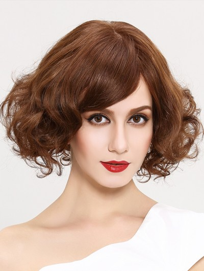 Wavy Capless Short Synthetic Hair Bobs Brown Wig