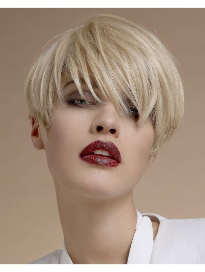 Straight Capless Cropped Synthetic Hair With Bangs Blonde Wig