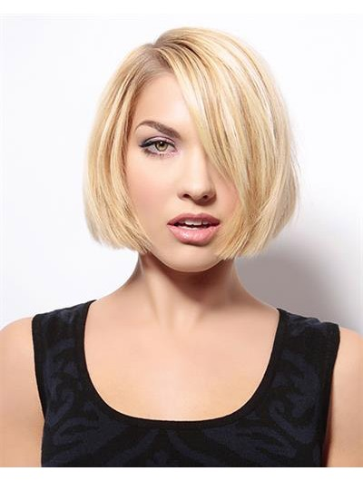 Straight Lace Front Chin Length Synthetic Hair Bobs Blonde Wig