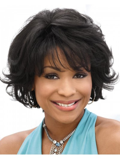 Wavy Capless Short Remy Human Hair Afro Black Wig