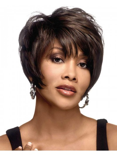 Straight Capless Cropped Remy Human Hair Afro Brown Wig