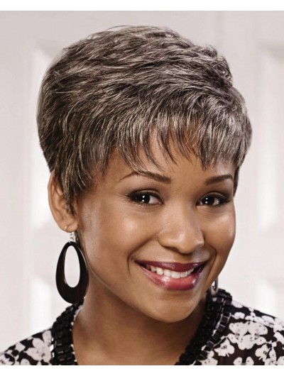 Straight Capless Short Synthetic Hair Afro Grey Wig