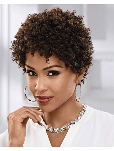 Curly Capless Short Synthetic Hair Afro Brown Wig