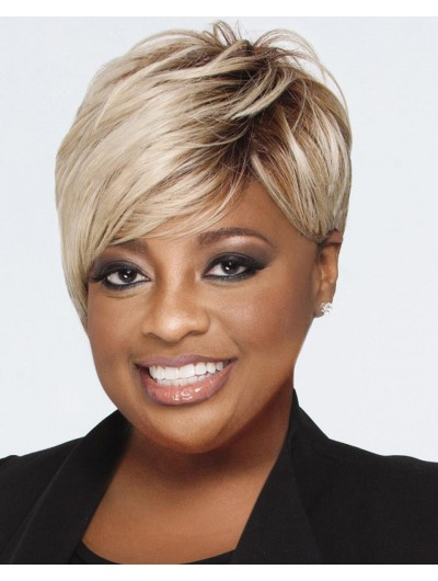 Straight Capless Short Synthetic Hair Afro Blonde Wig