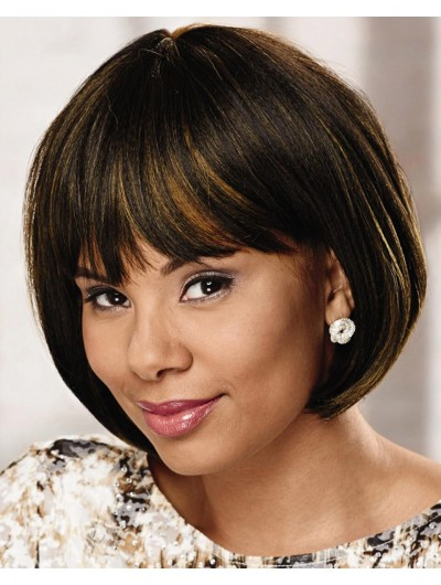 Straight Capless Short Remy Human Hair Bobs Brown Wig