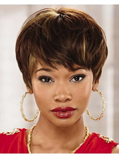 Straight Capless Short Remy Human Hair Afro Brown Wig