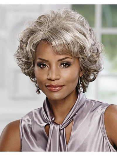 Wavy Capless Short Synthetic Hair Afro Grey Wig