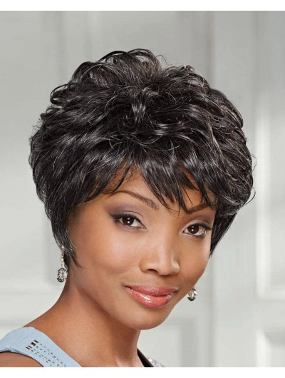 Wavy Capless Short Synthetic Hair Afro Brown Wig