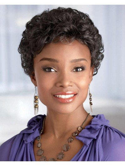 Curly Capless Short Synthetic Hair Afro Grey Wig