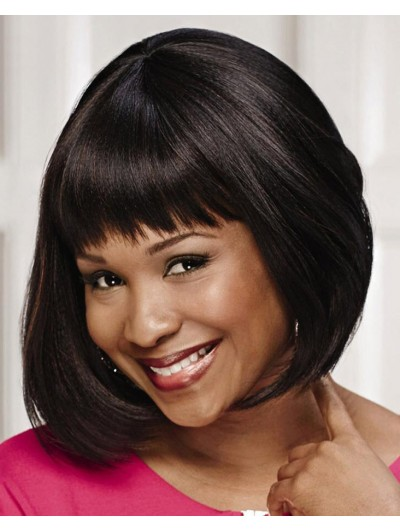 Straight Capless Short Remy Human Hair Bobs Black Wig