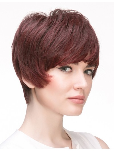 Straight Capless Cropped Remy Human Hair With Bangs Auburn Wig