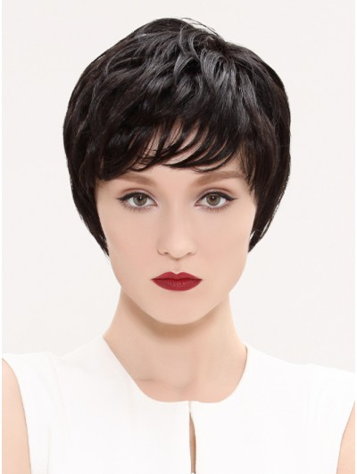 Straight Capless Cropped Remy Human Hair Layered Black Wig