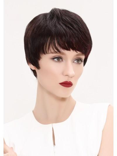 Straight Capless Short Remy Human Hair Boycuts Auburn Wig