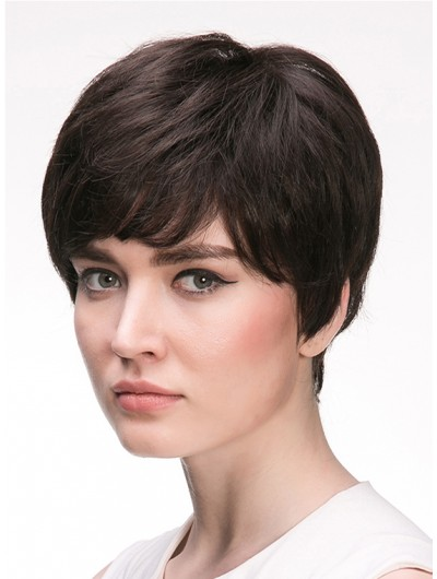 Straight Capless Cropped Remy Human Hair Classic Black Wig