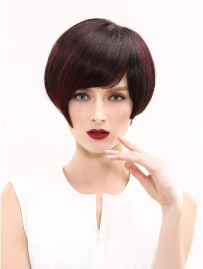 Straight Capless Cropped Synthetic Hair With Bangs Auburn Wig