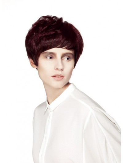 Straight Capless Short Synthetic Hair With Bangs Auburn Wig