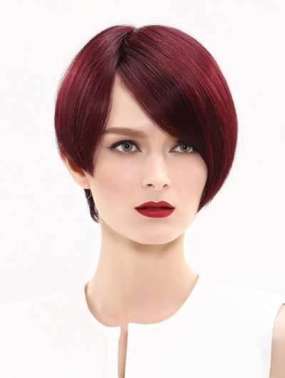 Straight Lace Front Cropped Synthetic Hair With Bangs Auburn Wig