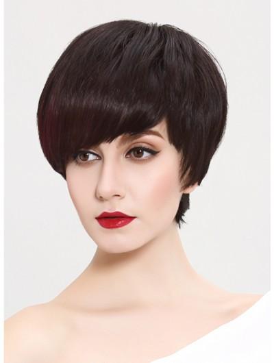 Straight Capless Short Remy Human Hair Classic Auburn Wig