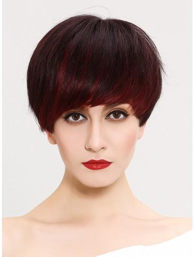 Straight Capless Short Synthetic Hair Classic Auburn Wig