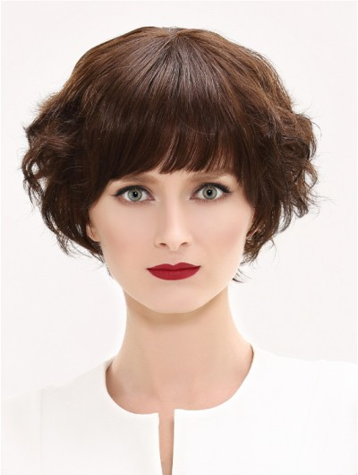 Wavy Capless Short Remy Human Hair With Bangs Brown Wig