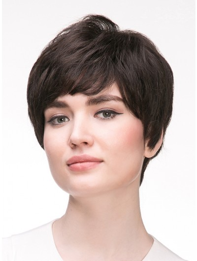 Straight Capless Short Remy Human Hair Classic Black Wig