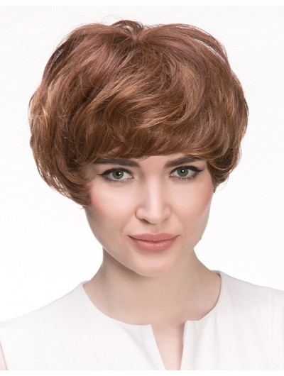 Wavy Capless Short Synthetic Hair With Bangs Auburn Wig