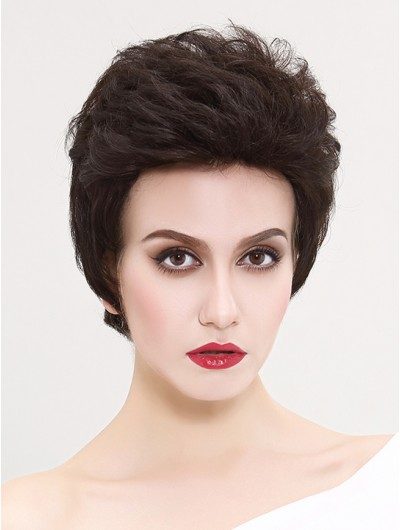 Wavy Capless Short Synthetic Hair Without Bangs Black Wig