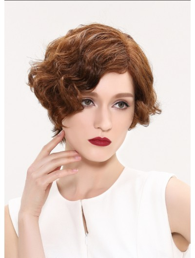 Wavy Lace Front Short Synthetic Hair Without Bangs Black Wig