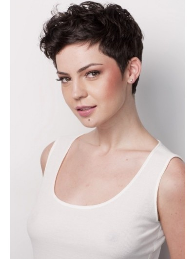Wavy Capless Short Remy Human Hair Boycuts Black Wig