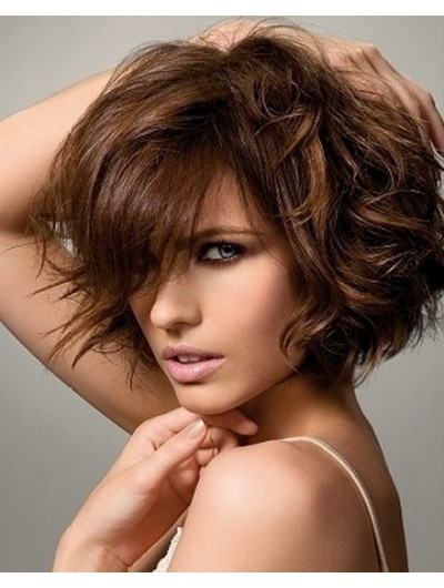 Wavy Capless Short Synthetic Hair With Bangs Brown Wig