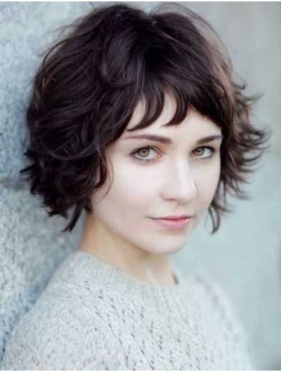 Short Wavy Capless Hair Wig With Bangs