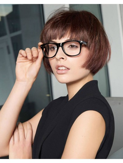 Bob Haircut And Glasses Straight Capless Wig