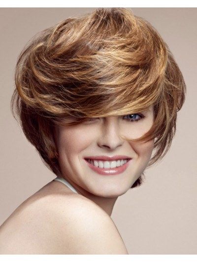 Wavy Capless Short Synthetic Hair With Bangs Wig
