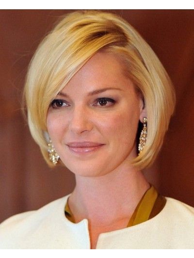 Celebrity Short Bob Hair Wig With Side Bangs