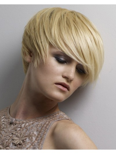 Straight Capless Cropped Synthetic Hair Wig With Bangs
