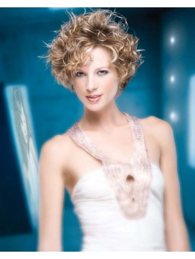 Fashionable Short Hairstyle Curly Wig With Bangs
