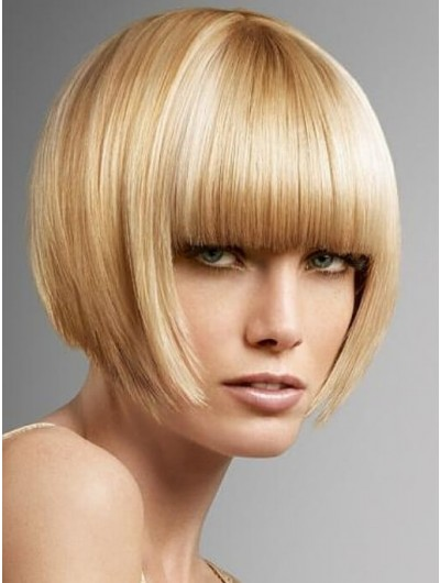 Inverted Bob Hair Styles Straight Capless Wig