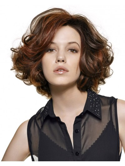 Large Wavy Short Wig Without Bangs