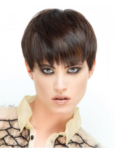 Capless Short Remy Human Hair Wig With Bangs