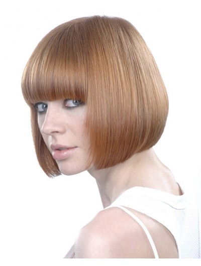 Round Brush Styling Straight Bobs Wig